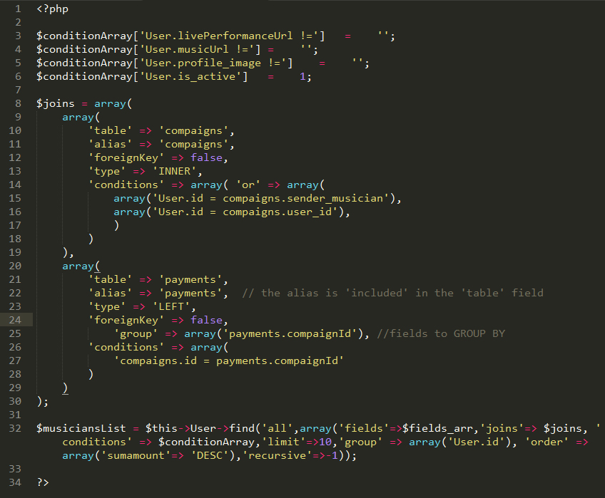 Cakephp Multiple Table Join Query Or Three Different Table Join